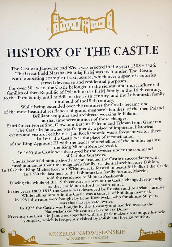 History of the castle in Janowiec