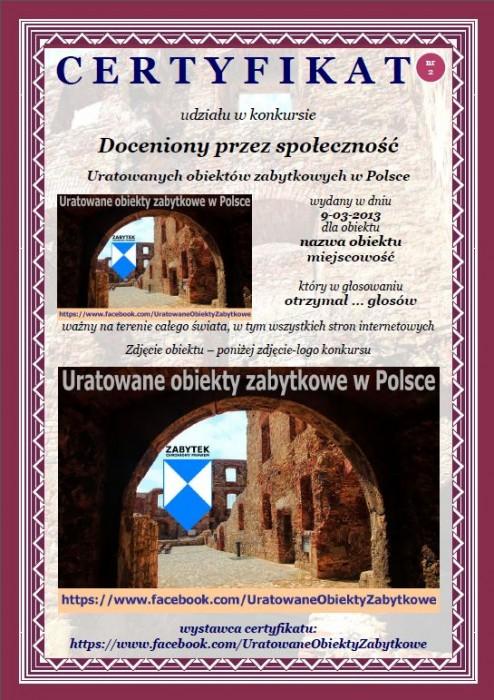 """CERTYFIKAT """"Doceniony przez społeczność Uratowanych obiektów zabytkowych w Polsce"""""""