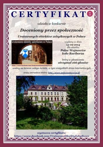 Szesnasty certyfikat dla Pałacu w Wojnowicach koło Raciborza - http://www.palacwojnowice.pl/