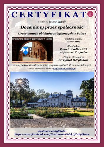Dwudziesty szósty certyfikat - Talaria Ladies SPA - http://www.talaria.pl