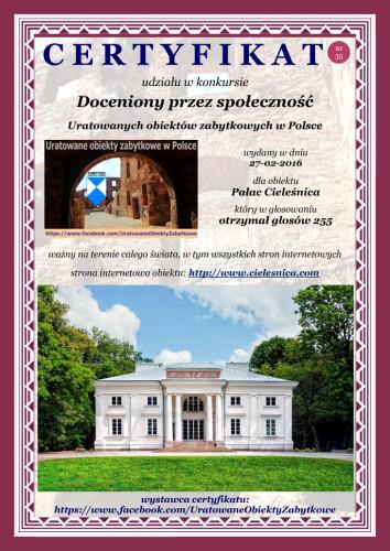 Trzydziesty piąty certyfikat - Pałac Cieleśnica - http://cielesnica.com