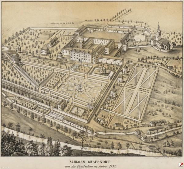 Archiwalny widok zespołu pałacowego w Gorzanowie - grafika ze strony pałacu