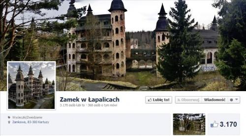 Zamek w Łapalicach - strona na Facebooku
