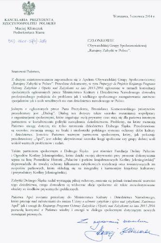 Odpowiedź z Kancelarii Prezydenta RP na list otwarty w sprawie ratowania dziedzictwa Dolnego Śląska