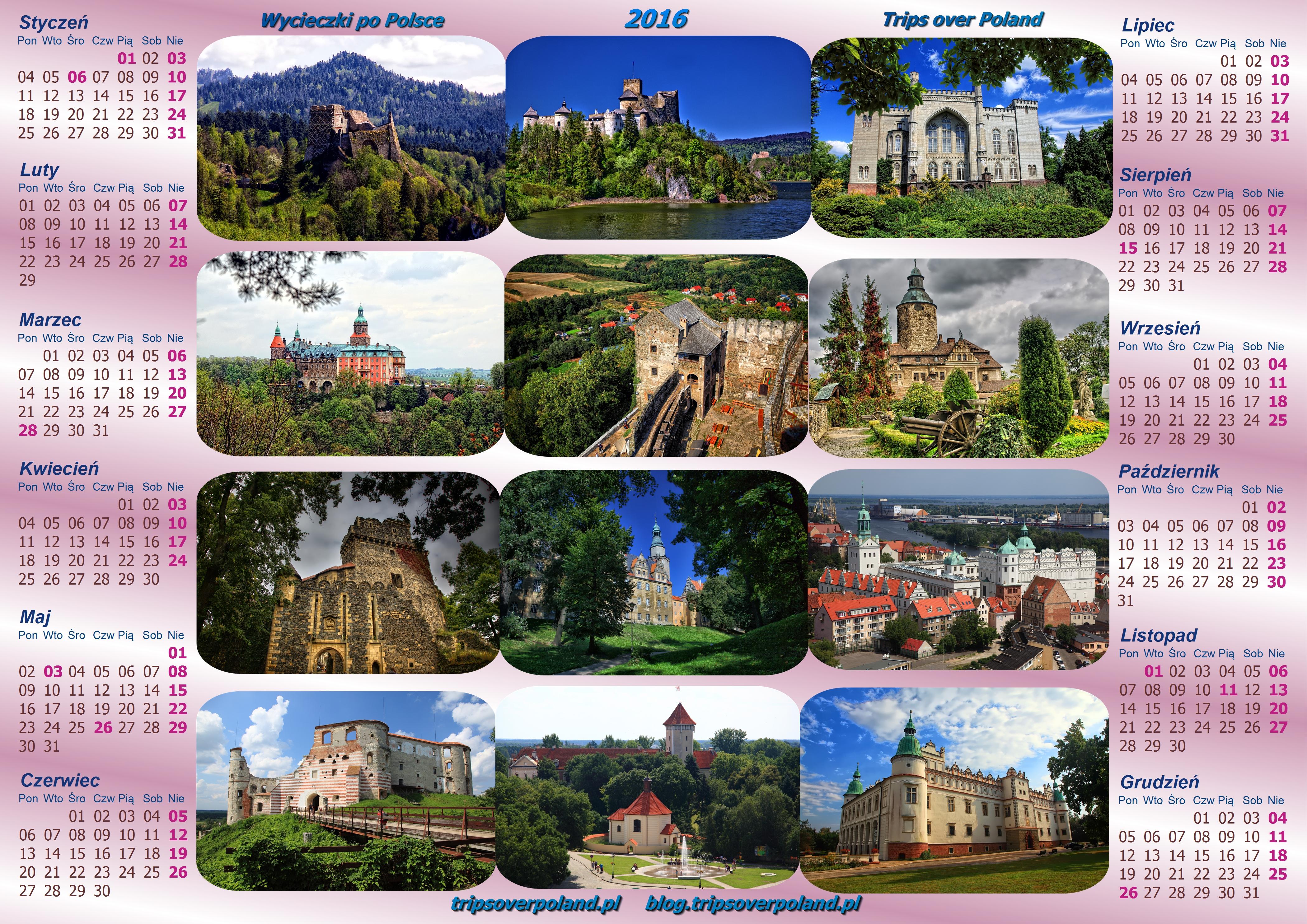 Kalendarz ze zdjęciami kilkunastu zamków w Polsce