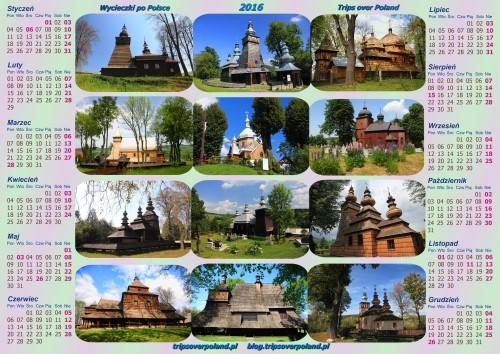 Kalendarz ze zdjęciami kilkunastu zabytków sakralnych architektury drewnianej w Polsce